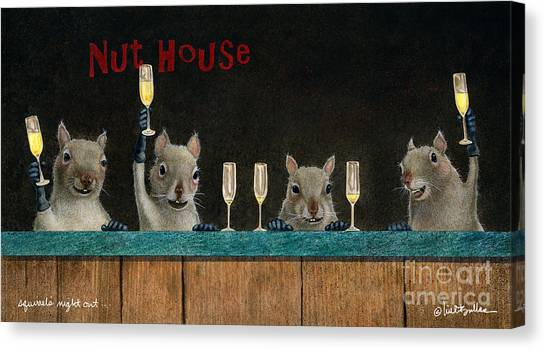 Squirrel's Night Out... Canvas Print