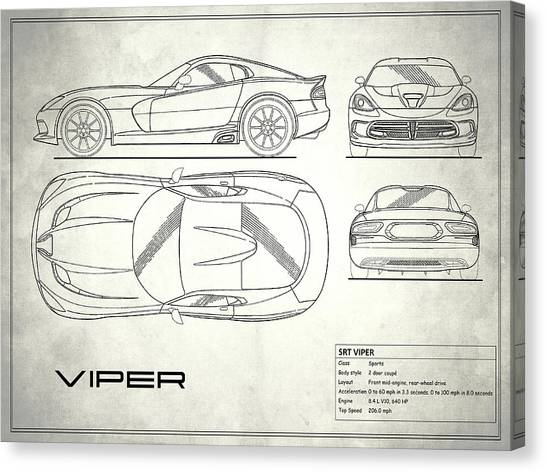 Vipers Canvas Print - Srt Viper Blueprint by Mark Rogan