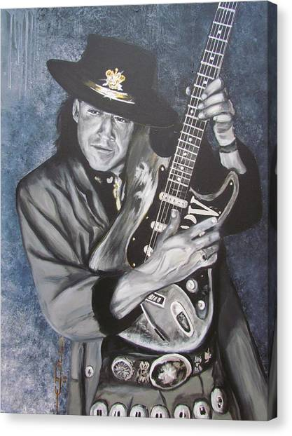 Stringed Instruments Canvas Print - Srv - Stevie Ray Vaughan  by Eric Dee