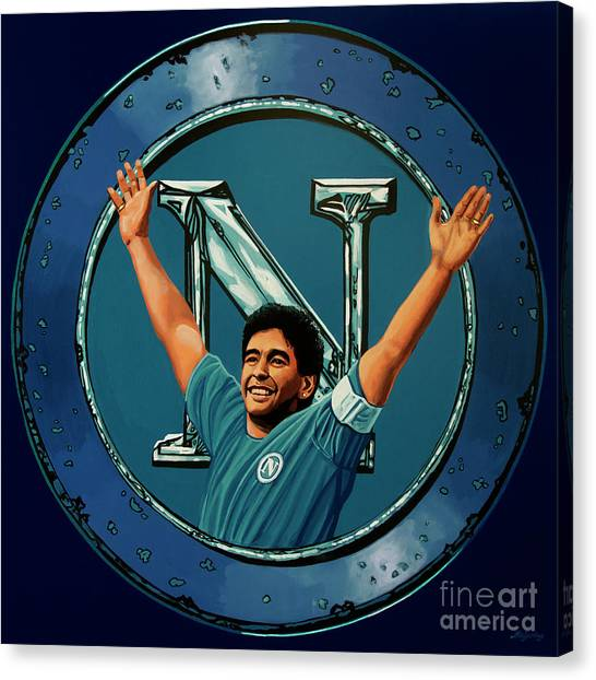 Diego Maradona Canvas Print - Ssc Napoli Painting by Paul Meijering