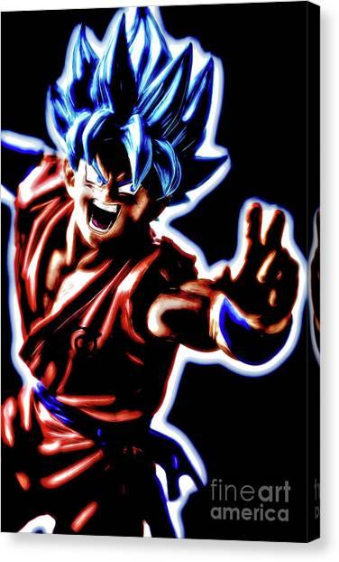 Canvas Print featuring the digital art Ssjg Goku by Ray Shiu