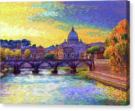 Statue Canvas Print - St Angelo Bridge Ponte St Angelo Rome by Jane Small