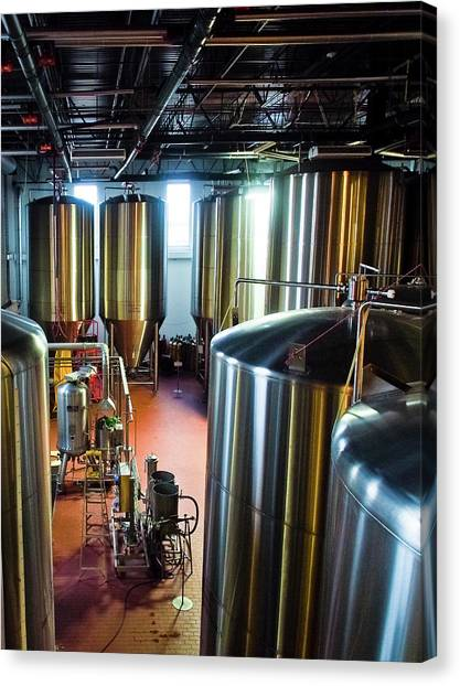 Craft Beer Canvas Print - St Arnold's Beer Vats by Linda Unger