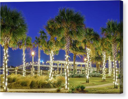 St. Augustine Bayfront Park During Nights Of Lights Canvas Print
