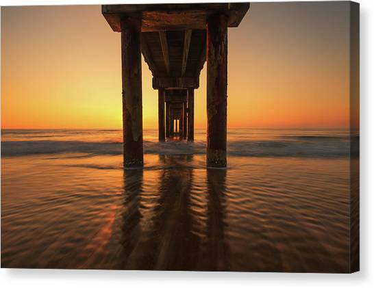 St Augustine Beach Pier Morning Light Canvas Print