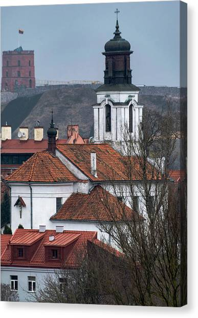 Canvas Print - St Bartholomew And Vilnius Castle by Steven Richman
