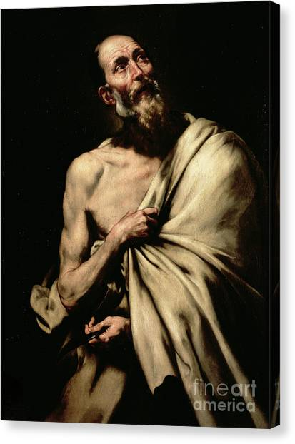 Bare Shoulder Canvas Print - St Bartholomew by Jusepe de Ribera
