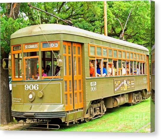 St. Charles Ave. Trolley Canvas Print by Jim Sweida