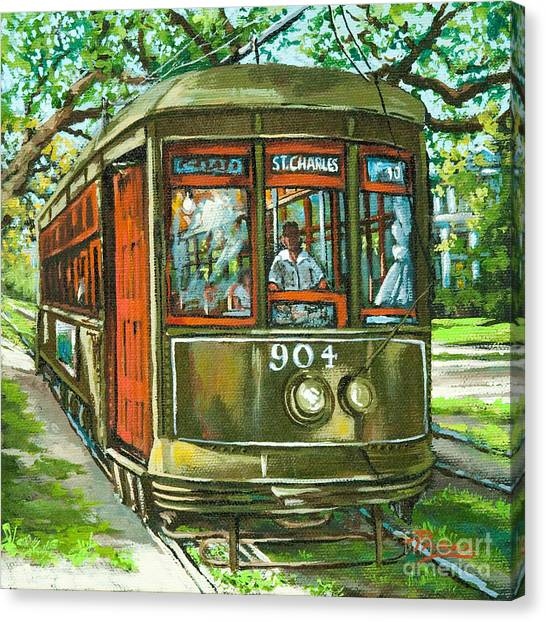 Trolley Canvas Print - St. Charles No. 904 by Dianne Parks