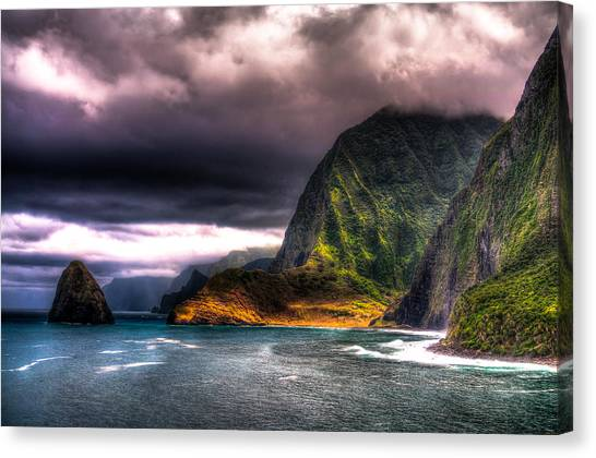 Kalaupapa Cliffs Canvas Print - St. Damien View by Eric West