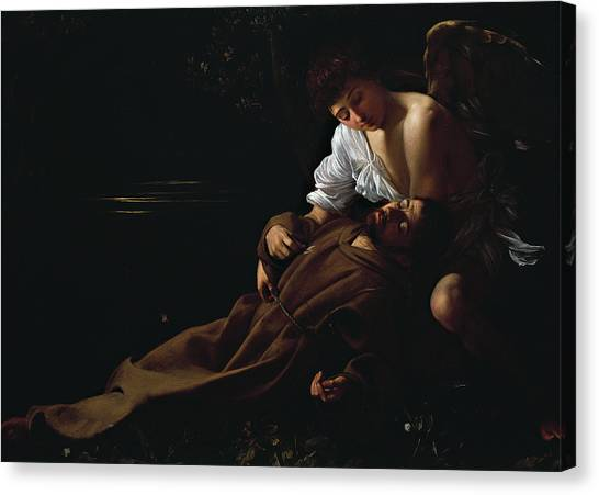Chiaroscuro Canvas Print - St Francis Being Comforted By An Angel After Receiving Stigmata by Caravaggio