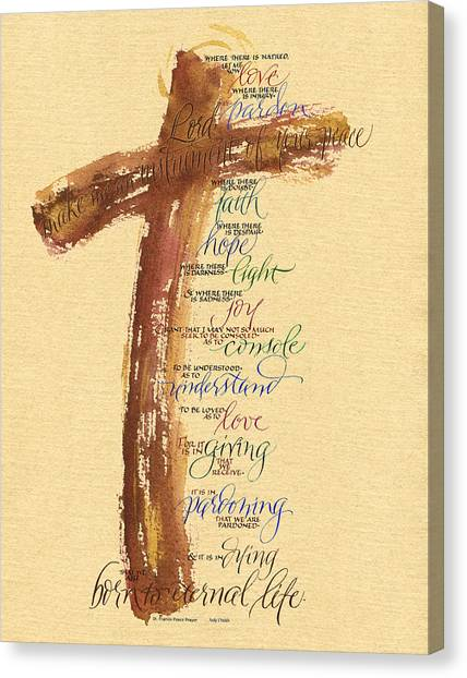 Biblical Canvas Print - St Francis Peace Prayer  by Judy Dodds
