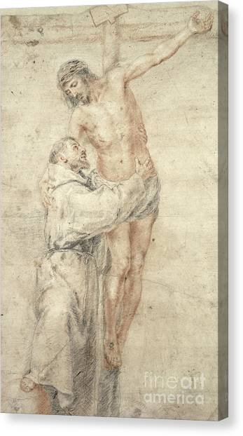 Crucify Canvas Print - St Francis Rejecting The World And Embracing Christ by Bartolome Esteban Murillo
