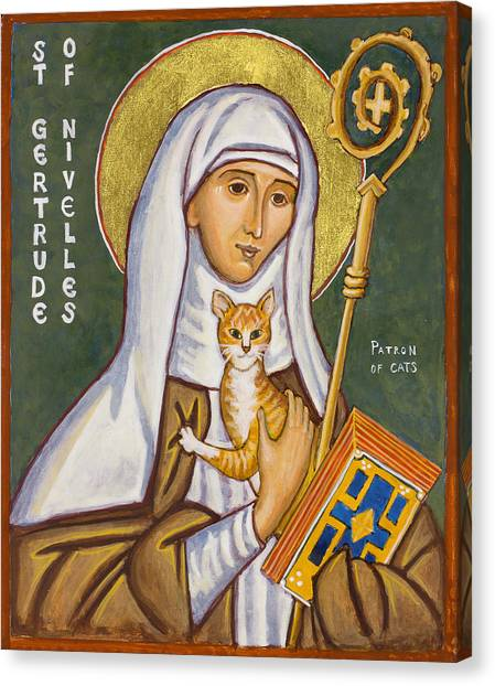 Saints Canvas Print - St. Gertrude Of Nivelles Icon by Jennifer Richard-Morrow