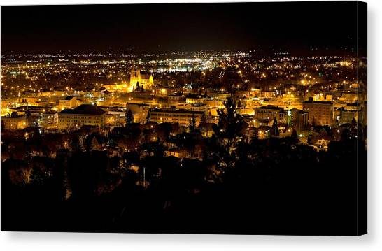 Canvas Print featuring the photograph St Helena Cathedral And Helena By Night by Dutch Bieber