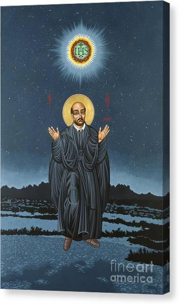St. Ignatius In Prayer Beneath The Stars 137 Canvas Print
