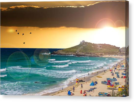 St Ives Canvas Print - St Ives Cornwall Uk by Martin Newman