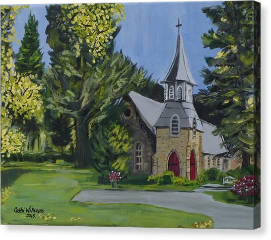 Church Yard Canvas Print - St. James Episcopal Church by Cathi Williams
