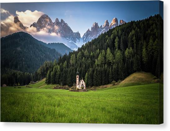 St. Johann Church In Val Di Funes Canvas Print