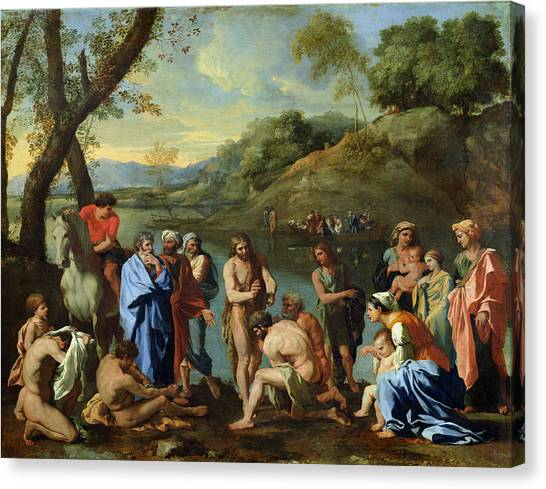 River Jordan Canvas Print - St John Baptising The People by Nicolas Poussin