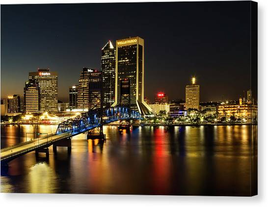 St Johns River Skyline By Night, Jacksonville, Florida Canvas Print