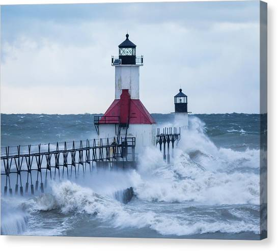 St. Joseph Lighthouse With Waves Canvas Print