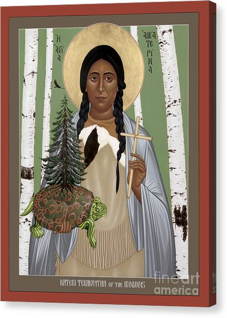 St. Kateri Tekakwitha Of The Iroquois - Rlktk Canvas Print