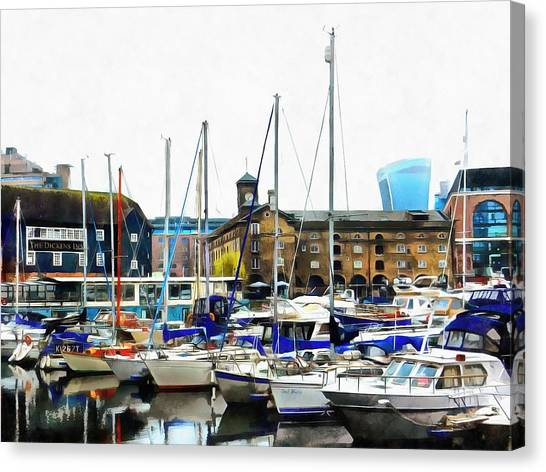 St Katharine Docks Boats 3 Canvas Print