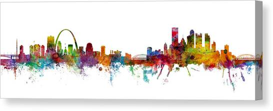 Missouri Canvas Print - St Louis And Pittsburgh Skyline Mashup by Michael Tompsett