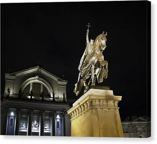 St Louis Art Museum With Statue Of Saint Louis At Night Canvas Print