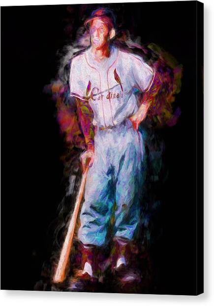 Strikeout Canvas Print - St. Louis Cardinal Stan Musial Portrait Busch Stadium by David Haskett