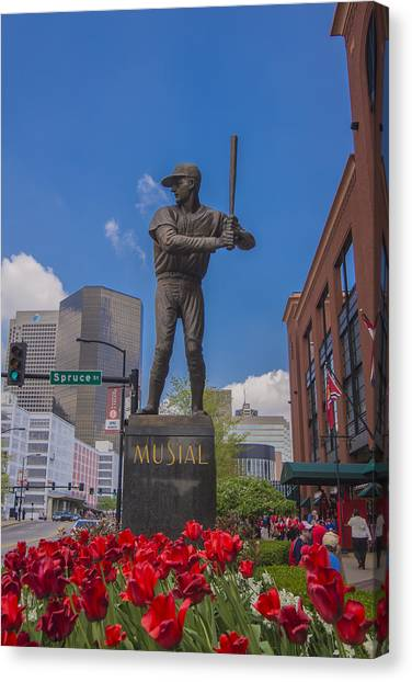 St. Louis Cardinals Busch Stadium Stan Musial Roses Canvas Print