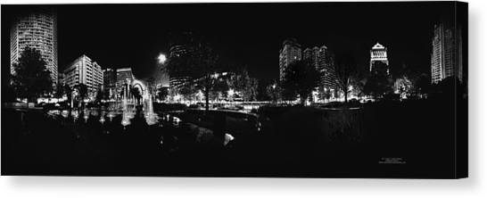 St. Louis City Garden Night Bw For Glass Canvas Print