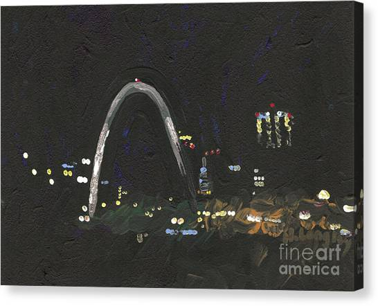 St. Louis Riverfront 1 Canvas Print by Helena M Langley
