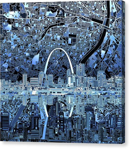 Abstract Digital Canvas Print - St Louis Skyline Abstract 5 by Bekim Art