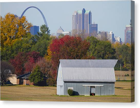 Gateway Arch Canvas Print - St Louis Skyline From Illinois by Garry McMichael