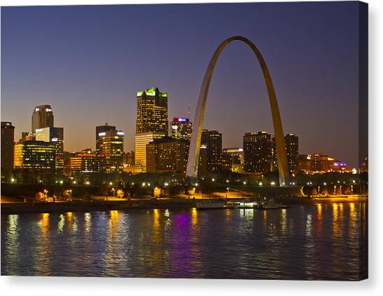 Gateway Arch Canvas Print - St Louis Skyline From Poplar Street Bridge by Garry McMichael