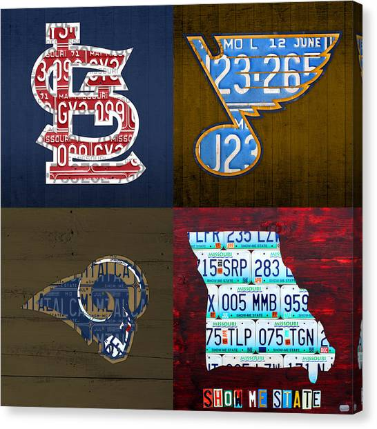 St. Louis Cardinals Canvas Print - St Louis Sports Fan Recycled Vintage Missouri License Plate Art Cardinals Blues Rams by Design Turnpike