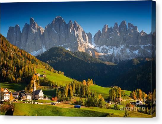 St. Magdalena Alpine Village In Autumn Canvas Print