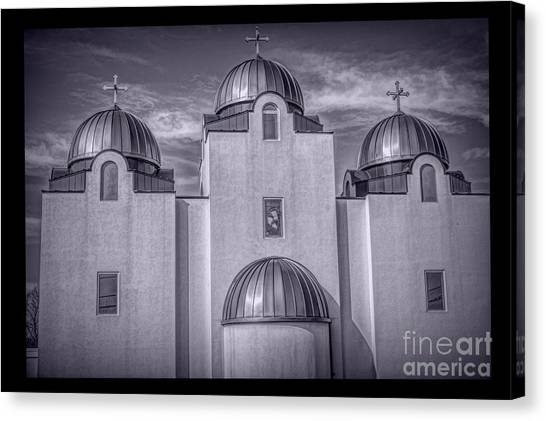 Coptic Art Canvas Print - St Mary And St Abram Coptic  St Louis Bw by Luther Fine Art