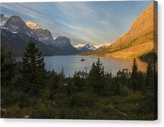 Canvas Print featuring the photograph St. Mary Lake by Gary Lengyel