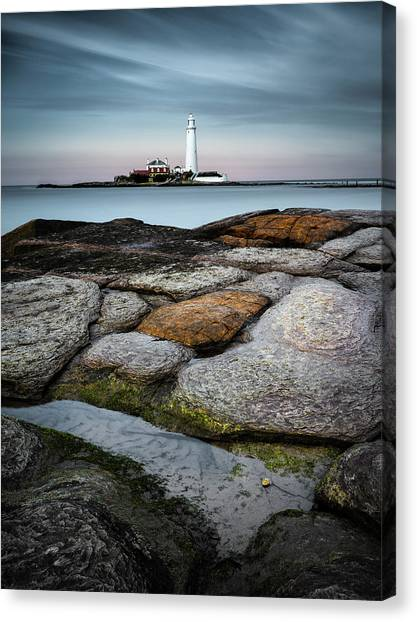 St Mary Canvas Print - St Mary's Lighthouse by Dave Bowman