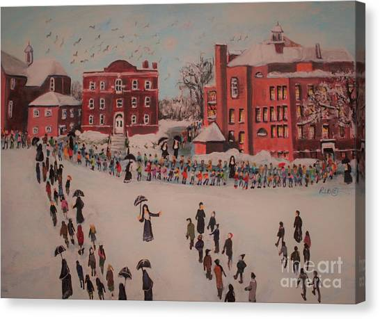 Church Yard Canvas Print - St Mary's First Friday Mass by Rita Brown