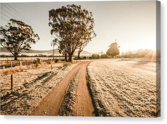 Canvas Print featuring the photograph St Marys Winter Country Road by Jorgo Photography - Wall Art Gallery