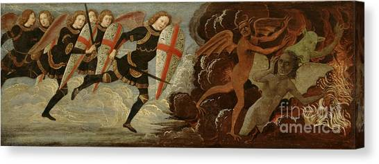 Satan Canvas Print - St. Michael And The Angels At War With The Devil by Domenico Ghirlandaio