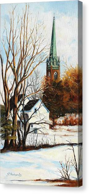St Michael's Spire In Winter Canvas Print by Cathleen Richards-Green