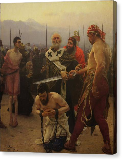 St. Nicholas Saves Three Innocents From Death Canvas Print by Ilya Repin