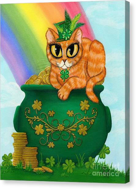 St. Paddy's Day Cat - Orange Tabby Canvas Print
