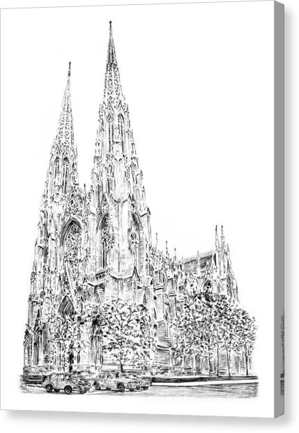 House Of Worship Canvas Print - St Patricks Cathedral by Anthony Butera