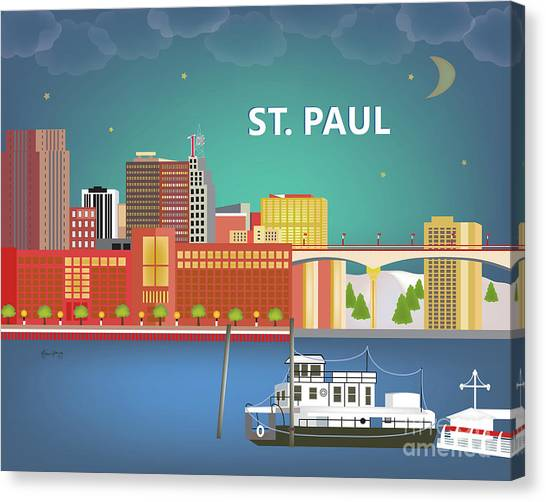 Mississippi River Canvas Print - St. Paul Minnesota Horizontal Skyline by Karen Young